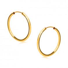 Zlati okrogli uhani iz 14K zlata - zaobljeni kraki, gladka in sijoča površina, 18 mm