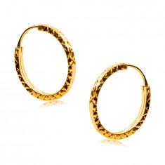 Uhani iz 585 rumenega zlata - obročki so okrašeni z vzorcem diamanta, oglati kraki, 14 mm