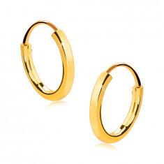 Majhni okrogli uhani iz 14K zlata - tanki, oglati kraki, sijoča površina, 13 mm