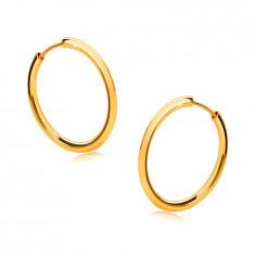 Zlati okrogli uhani iz 14 K zlata - tanki kraki, sijoča površina, 16 mm