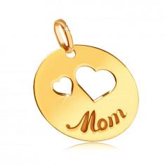 """Ploščat 585  zlat obesek - izrezi dveh src, vgraviran napis """"Mom"""", sijoč krog"""