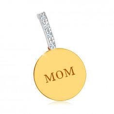 """Kombiniran 14K zlat obesek - sijoč, ploščat obroček, """"MOM"""" napis, linija cirkonov"""