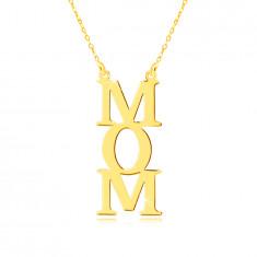 """Ogrlica iz rumenega zlata 9 K - """"MOM"""" napis, črke ena pod drugo, verižica z drobnimi členi"""