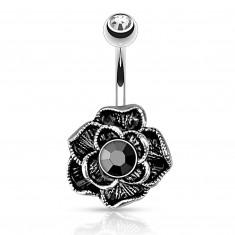 Vintage piercing za popek iz kirurškega jekla - cvetoča vrtnica, črni hematit