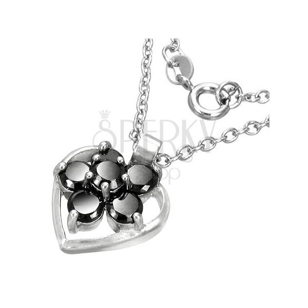 Modna ogrlica s srcem in rožo