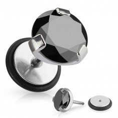 Imitacija vstavka za uho iz kirurškega jekla - okrogel črn cirkon, gumijast trak