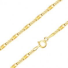 Verižica iz 14 K rumenega zlata - ovalni in podolgovati členi, pravokotnik, 440 mm