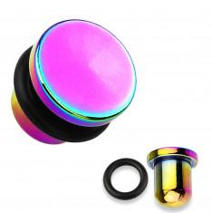 Razširjevalnik za uho iz 316L jekla in titana v mavrični barvi, črna gumica, različnih debelin