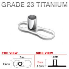Podkožni mikrodermalni vsadek iz titana, dve luknji, 2 mm
