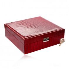 Pravokotna škatla za nakit v rdeči barvi - imitacija krokodilje kože, zaponka, ključ