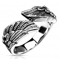 316L jekleni prstan, oblika krila, srebrna barva