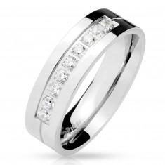 Jekleni prstan v srebrni barvi, devet prozornih cirkonov v zarezi, sijoča površina, 6 mm