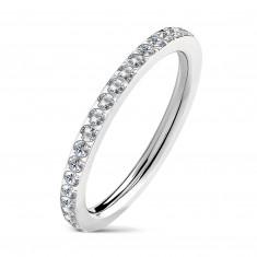 Ozek jeklen poročni prstan z vdelanimi prozornimi cirkoni, srebrne barve