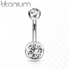 Titanov piercing za popek - dva prozorna okrogla cirkona, 11 mm