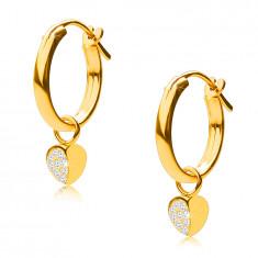 14K zlati uhani, obročki z obeskom srček, francoska zaponka, 12 mm
