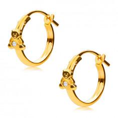 14K zlati uhani, obročki z medvedkom in cirkonom, francoska zaponka, 12 mm