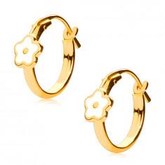 14K zlati okrogli uhani, bela roža, francoska zaponka, 12 mm