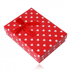 Darilna škatlica za ogrlico ali komplet - beli srčki, rdeča podlaga