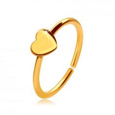 14K zlati piercing za nos, sijoč obroček s srčkom, 8 mm