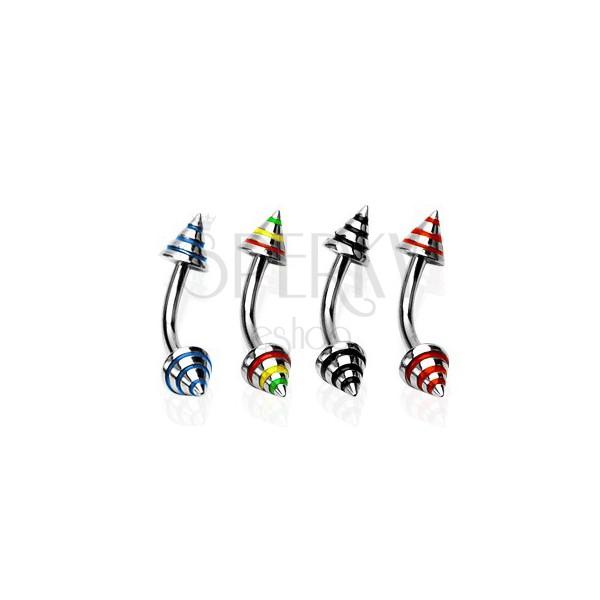 Zavit piercing za obrvi s tremi barvnimi črtami