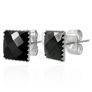 Uhani iz jekla 316 L - črn brušen cirkonski kvadrat, 9 mm