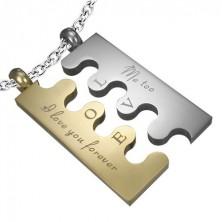 Jeklen obesek v obliki sestavljanke, srebrno-zlat