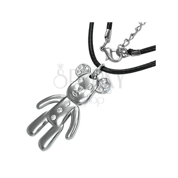 Modna ogrlica z obeskom - veseli medved s cirkoni