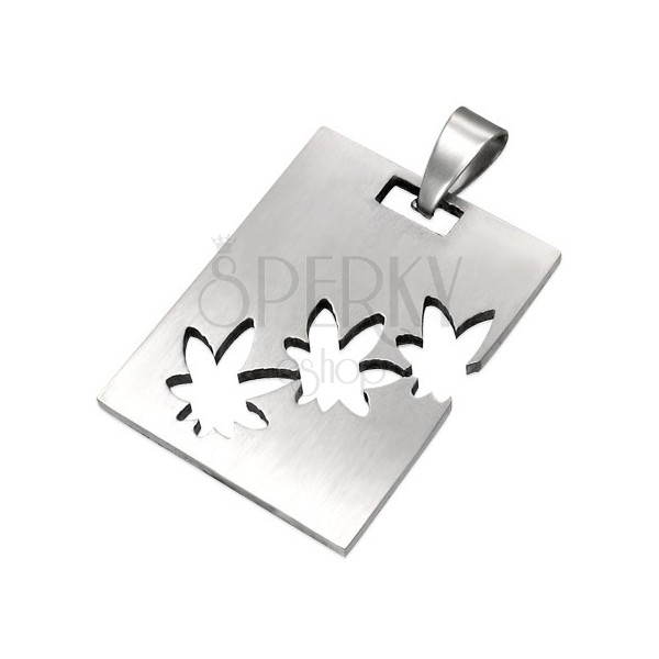 Obesek iz kirurškega jekla srebrne barve, pravokotnik z izrezi v obliki marihuane