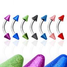 Zavit piercing za obrvi z dvema barvnima konicama