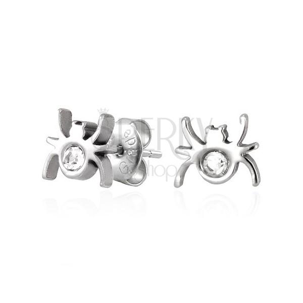 Vtični jekleni uhani - pajek s cirkonom
