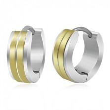 Jekleni uhani z zgibno zaponko, zlati črti