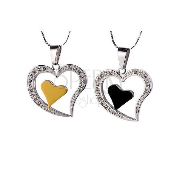 Komplet jeklenih obeskov - srca za zaljubljence
