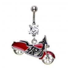 Uhan za popek - rdeč Harley Davidson