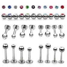 Jeklen podustnični piercing - kroglica s svetlečim cirkonom
