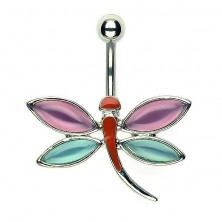 Piercing za popek s kačjim pastirjem - roza in modro obarvana krila