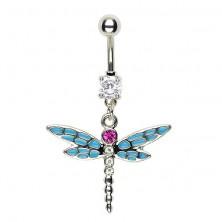 Uhan za popek s kačjim pastirjem - večdelna modra krila in roza kamenček