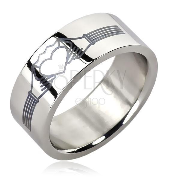 Prstan iz nerjavečega jekla - srce s krono - motiv prstana Claddagh