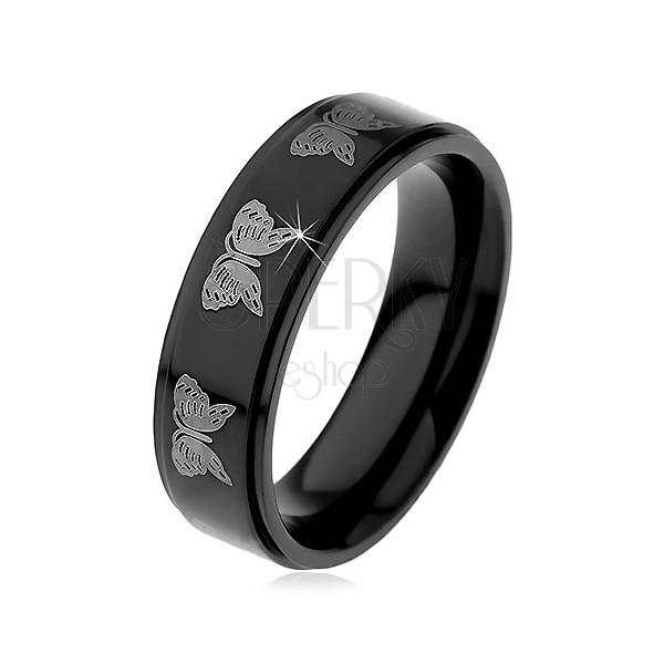 Črn jeklen prstan - motiv svetlega metulja