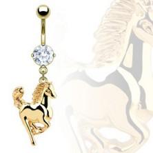 Uhan za popek - konj zlate barve