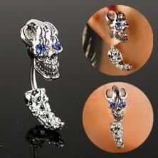 Jeklen piercing za uho - gusarska lobanja z očmi iz cirkonov