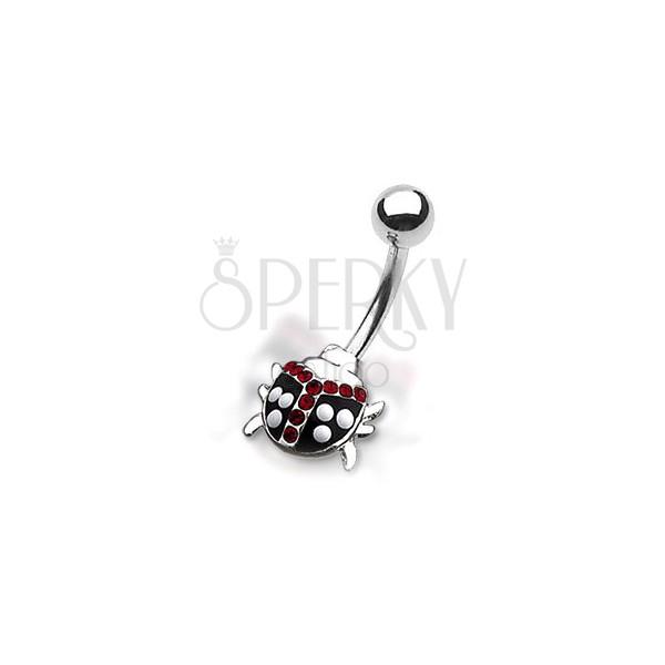 Uhan za popek - pikčasta pikapolonica z rdečimi kamenčki