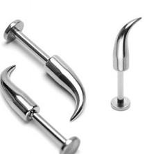 Piercing za ustnico in brado iz jekla 316L - sijoča ukrivljena konica, širina 1,6 mm