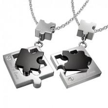 Obeska v obliki sestavljanke za zaljubljence - srebrna in črna barva