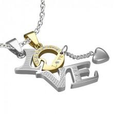 Komplet jeklenih obeskov - LOVE, zlata črka O