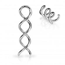 Jeklen piercing za uho v srebrni barvi - sijoča kontura spirale
