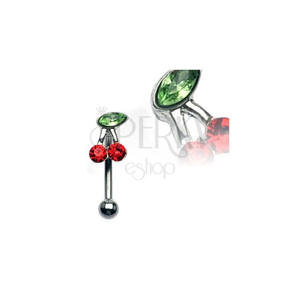Piercing za obrvi - češnjica z zelenim in rdečima cirkonoma