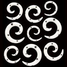Razširjevalnik za uho - spirala v belem odtenku, zvezde