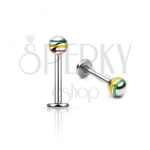 Podustnični piercing s tribarvno kroglico - nerjaveče jeklo