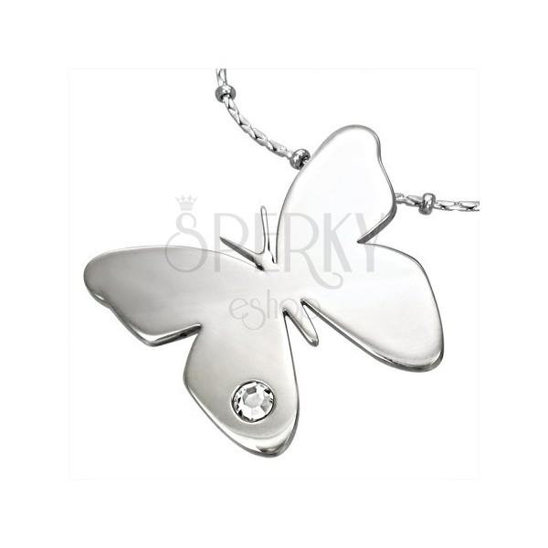 Obesek iz kirurškega jekla, sijoč metulj s prozornim cirkonom