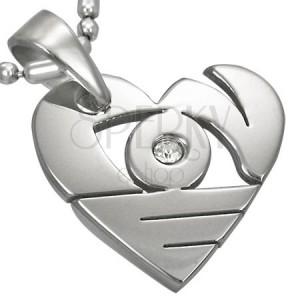 Obesek iz kirurškega jekla srebrne barve, sijoče srce z izrezi in cirkonom